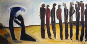 Jesus with the ten healed lepers from Luke 17:11-19. In the picture, one returns to thank Jesus, the Giver.
